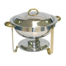 TigerChef 4 Gold Accented Round Chafer 4 Qt.