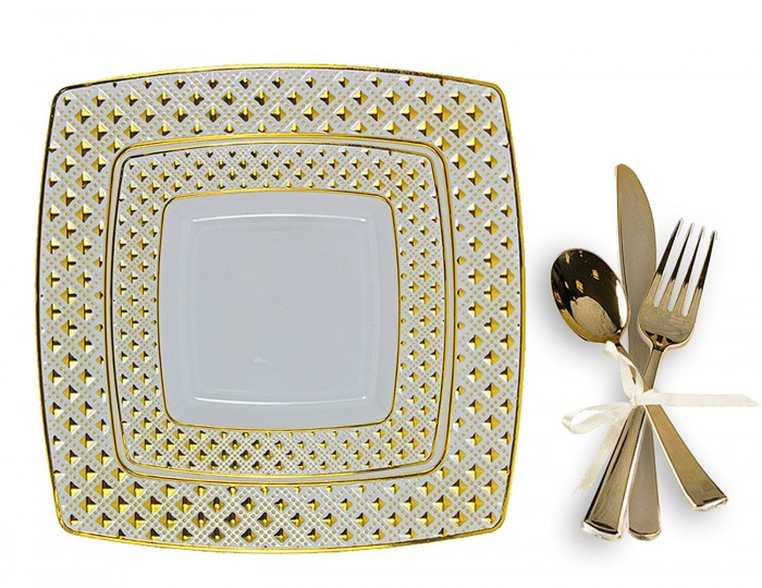 Tigerchef Gold Plastic Square Dinner Plates And Silverware Set
