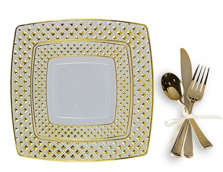 TigerChef Gold Plastic Square Dinner Plates and Silverware Set - Service for 20