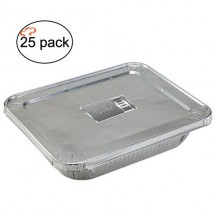 TigerChef Half Size Aluminum Foil Steam Table Pans and Lids - 25 sets