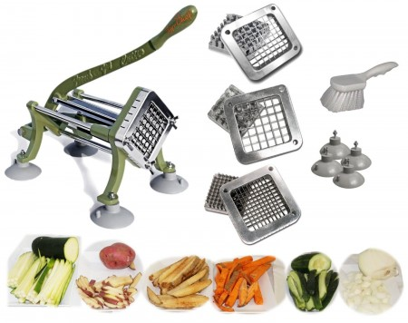 TigerChef Heavy Duty 11-Piece French Fry Cutter Set with Suction Feet, 3 Blades and Pusher Blocks