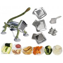 TigerChef Heavy Duty 11-Piece French Fry Cutter Set - Cutter, Suction Feet, 3 Blades and Block Sets