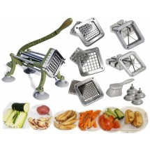 TigerChef Heavy Duty French Fry Cutter, Complete Set - Cutter, Suction Feet, 5 Blades and Block Sets