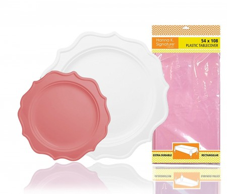 TigerChef Heavy Duty Pink and White Scalloped Rim Disposable Party Supplies Set - Service for 24