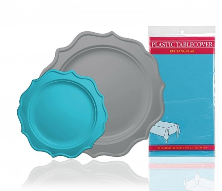 TigerChef Heavy Duty Turquoise and Silver Scalloped Rim Disposable Party Supplies Set - Service for 24