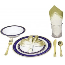 TigerChef Heavyweight Premium Plastic Dinnerware Set with Gold and Blue Cobalt Trim - Service for 20