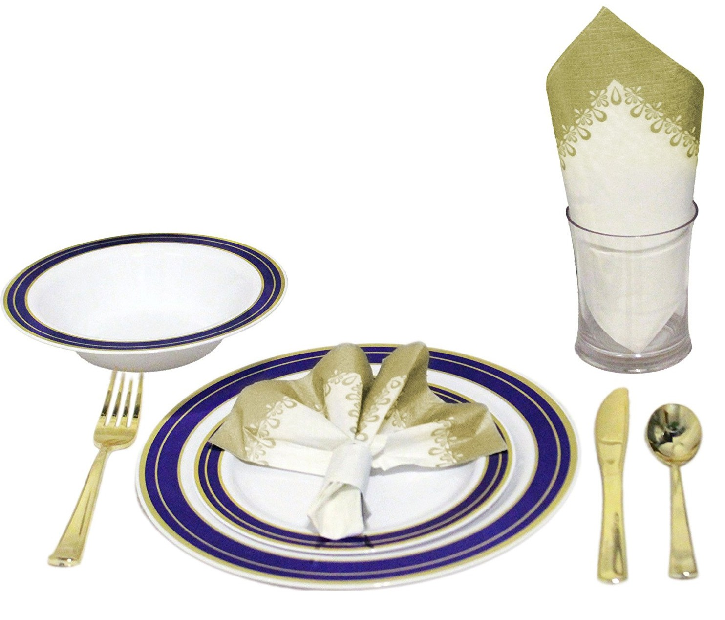 TigerChef Heavyweight Premium Plastic Dinnerware Set with Gold and Blue Cobalt Trim - Service for 20  sc 1 st  TigerChef : premium plastic dinnerware - pezcame.com