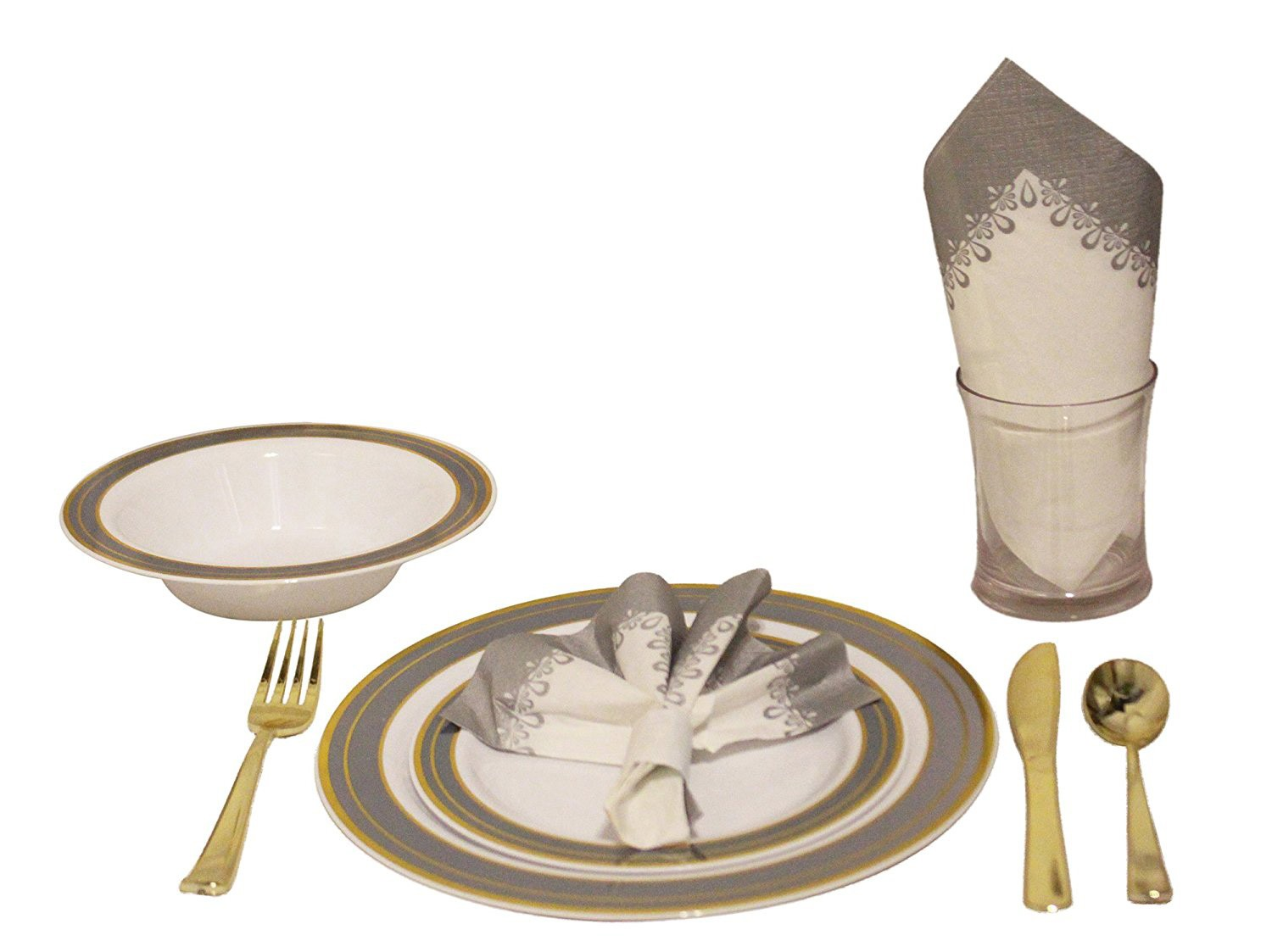 TigerChef Heavyweight Premium Plastic Dinnerware Set with Gold and Silver Trim - Service for 20  sc 1 st  TigerChef & TigerChef Heavyweight Premium Plastic Dinnerware Set with Gold and ...