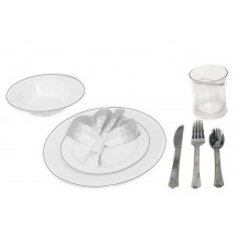 TigerChef Heavyweight Premium Plastic Dinnerware Set  with White and Silver Trim - Service for 20