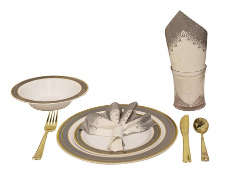 TigerChef Heavyweight Premium Plastic Dinnerware Set with Gold and Silver Trim - Service for 20