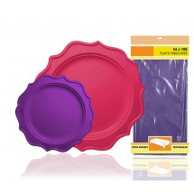 TigerChef Heavy Duty Purple and Hot Pink Scalloped Rim Disposable Party Plates Set with Tablecloth - Service for 24