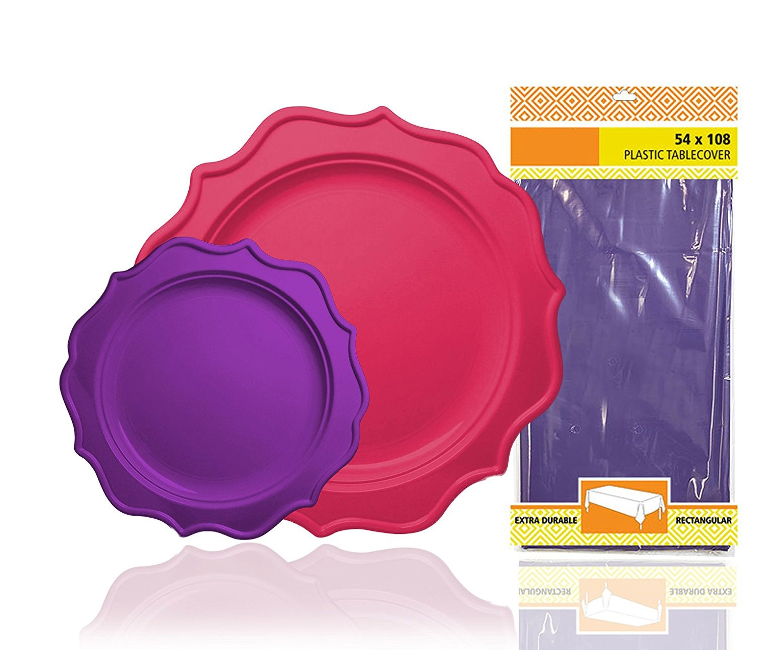TigerChef Heavy Duty Purple and Hot Pink Scalloped Rim Disposable Party Plates Set with Tablecloth - Service ...  sc 1 st  TigerChef & TigerChef Heavy Duty Purple and Hot Pink Scalloped Rim Disposable ...