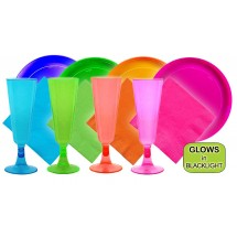 TigerChef Neon Fiesta Party Pack - Plates, Glasses, Napkins - Service for 20