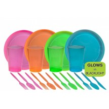 TigerChef Neon Party Supplies Set - Service for 8