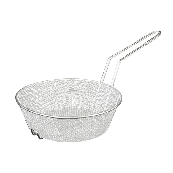 TigerChef Nickel-Plated Round Fine Mesh Culinary Basket 12""