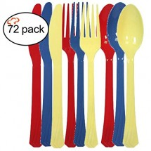 TigerChef Plastic Cutlery Set, Set of 72, Available in 10 Colored Sets