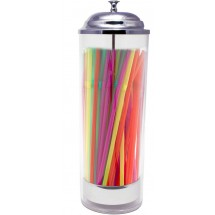 TigerChef Plastic Cylinder Straw Dispenser Holder with 50 Neon Straws 3-1.2 x 10-3/5
