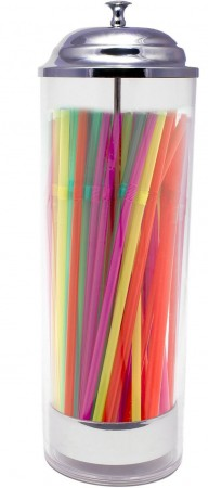 "TigerChef Plastic Cylinder Straw Dispenser Holder with 50 Neon Straws 3-1.2"" x 10-3/5"""