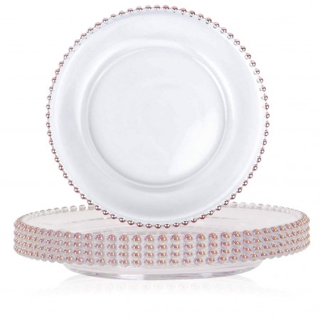 "TigerChef Round Rose Gold Beaded Rim Charger Plate 13"" - Set of 8"
