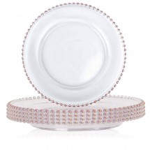TigerChef Round Rose Gold Beaded Rim Charger Plate 13 - Set of 8