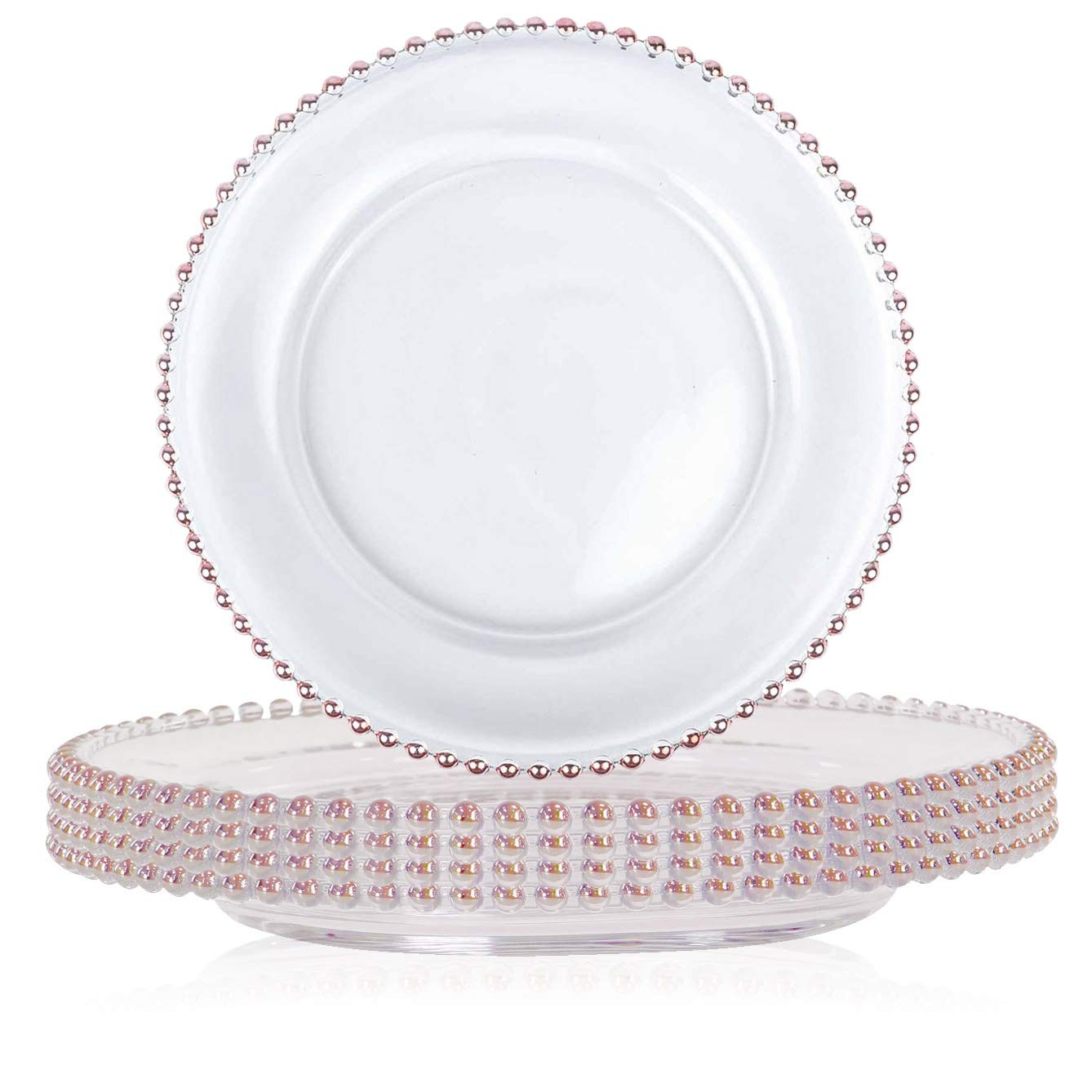 TigerChef Rose Gold Round Beaded Charger Plate 12 - Set of 8