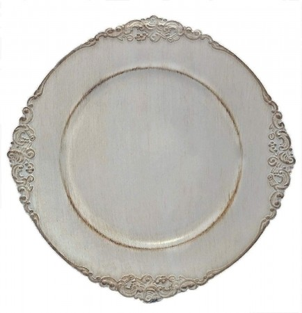 TigerChef Round Antique Gray Charger Plate 13