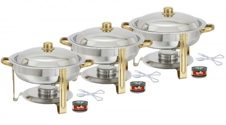 TigerChef Round Gold Accented Chafing Dish 4 Qt. with Free Chafing Gel and Tongs - Set of 3