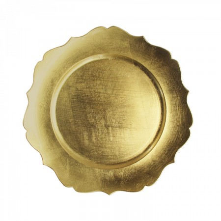 """TigerChef Round Gold Scalloped Edge Charger Plate 13"""""""