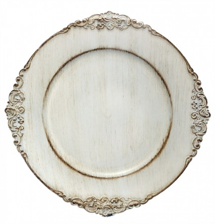 TigerChef Round Royal Antiqued White Charger Plate 13""