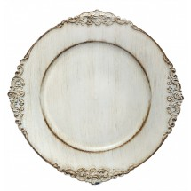TigerChef Round Royal Antiqued White Charger Plate 13