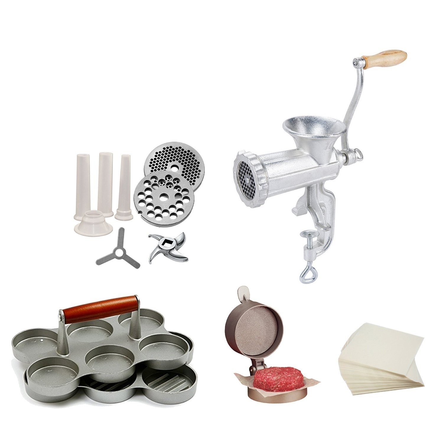 TigerChef Complete Burger Maker and Sausage Stuffer Supplies Set