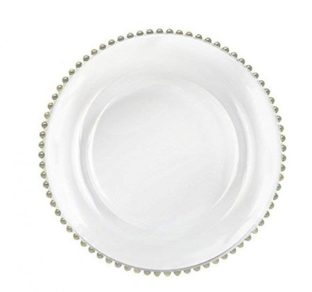 """TigerChef Round Silver Beaded Rim Glass Charger Plate 13"""" - Set of 8"""