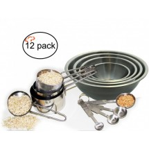 TigerChef Stainless Steel 12 Piece Baking Measuring Tools and Mixing Bowls Set