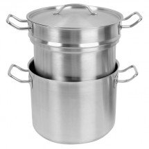TigerChef Stainless Steel Double Boiler With Cover 12 Qt.