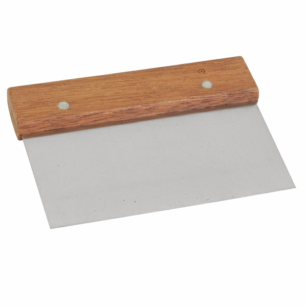 TigerChef Stainless Steel Dough Scraper with Wood Handle 6""