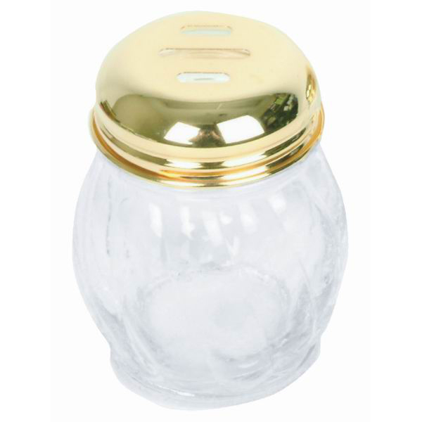 TigerChef Swirl Glass Cheese Shaker with Gold Slotted Top 6 oz.