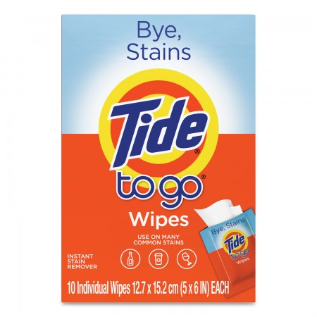 """To Go Instant Stain Remover Wipes, Scented, 6"""" x 5"""", 10/Box, 12 Boxes/Carton"""