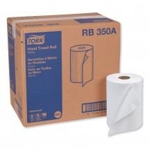 """Tork Advanced Hand Roll Paper Towel, One-Ply, White, 7 9/10"""" x 350 Ft., 12 Rolls/Carton"""