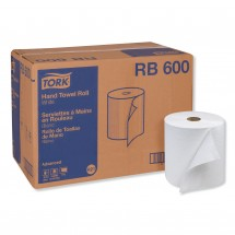 """Tork Advanced Hand Roll Paper Towel, One-Ply, White, 7 9/10"""" x 600 Ft.. 12 Rolls/Carton"""