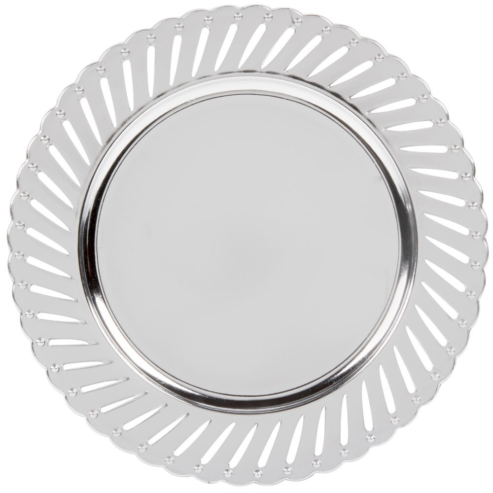 The Jay Companies 1270251-4 Round Silver Track Charger Plate 13""