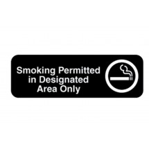 Vollrath 4544 Traex Smoking Permitted in Designated Area Only Sign, 9
