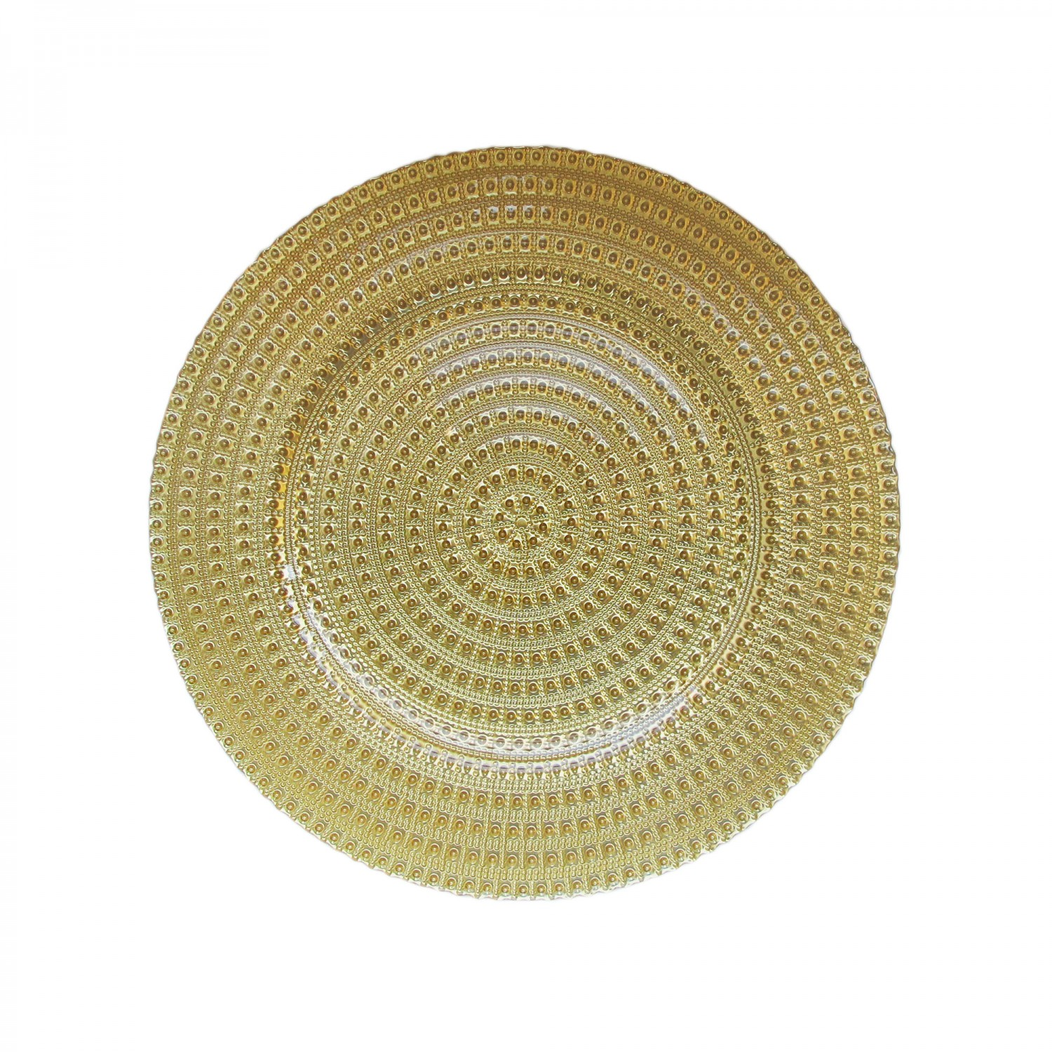 The Jay Companies 1470357 Round Gold Tripoli Glass Charger Plate 13""