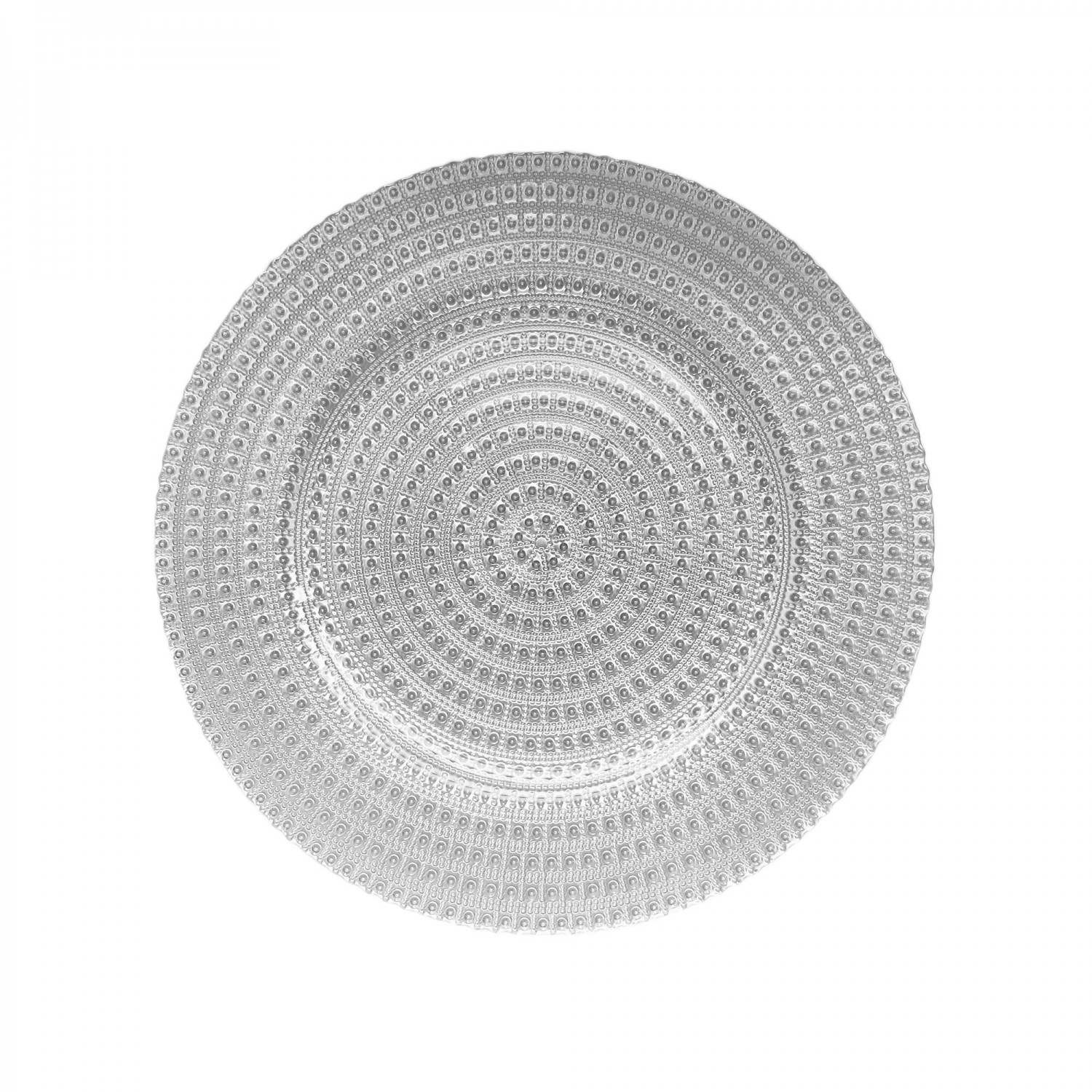 The Jay Companies 1470358 Round Silver Tripoli Glass Charger Plate 13""