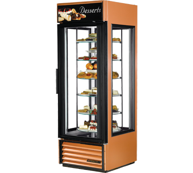 True G4SM-23-RGS-LD 4-Sided Glass Door Specialty Merchandiser With Rotating Shelves 23 Cu Ft