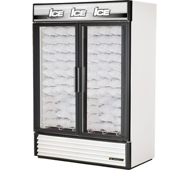True GDIM-49NT-LD Two-Section Glass Door Indoor Ice Merchandiser 49 Cu Ft