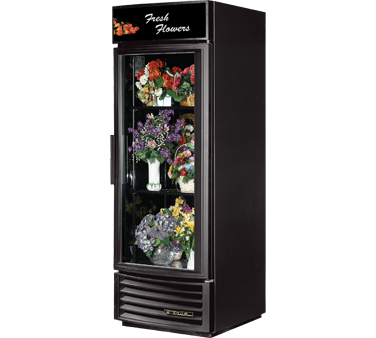 True GDM-23FC-RF-LD Radius Front Glass Door Floral Merchandiser 23 Cu Ft