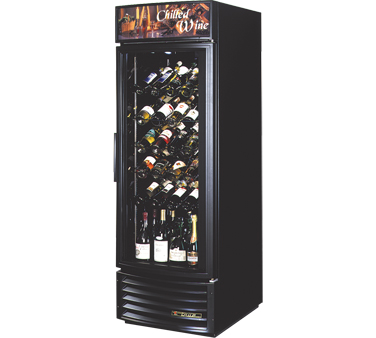 True GDM-23W-RF-LD Radius Front Glass Door Wine Merchandiser 23 Cu Ft