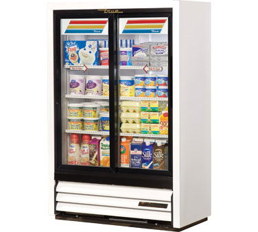 True GDM-33SSL-54-LD Low Profile Narrow Sliding Glass Door Refrigerated Merchandiser 11 Cu Ft