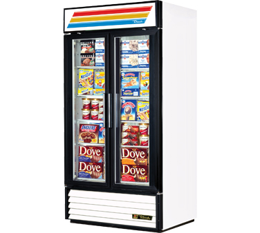 True GDM-35F-LD Two-Section Glass Swing Door Freezer Merchandiser 35 Cu Ft
