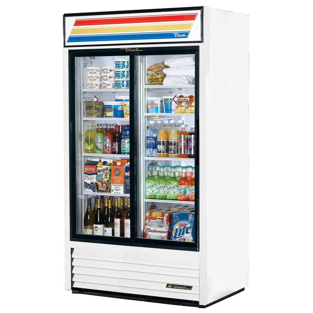 True GDM-37-LD 2-Section Glass Sliding Door Refrigerated Merchandiser 37 Cu Ft